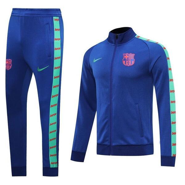 Барселона Спортивный костюм синий с зелеными вставками 2020-2021